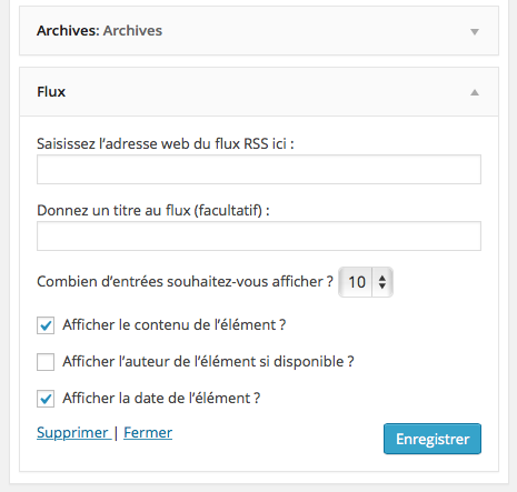 Widget, affichage d'un flux RSS : contrôler l'ordre de tri…